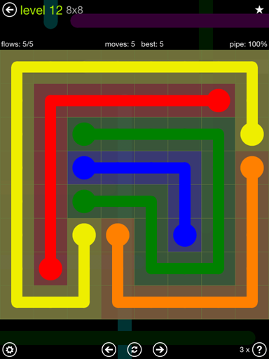 Solution and Answer to the Puzzle for Flow Extreme Pack Set 8x8 Level 12