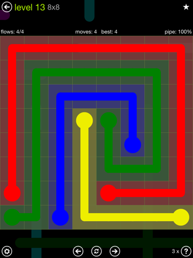 Solution and Answer to the Puzzle for Flow Extreme Pack Set 8x8 Level 13
