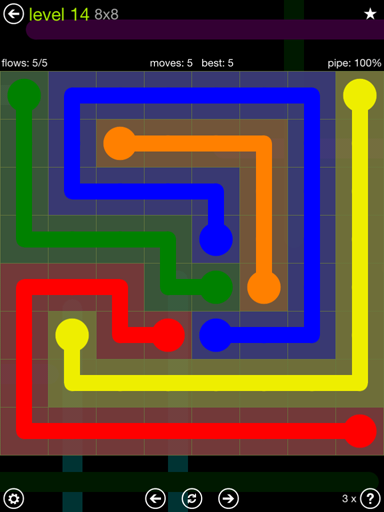 Solution and Answer to the Puzzle for Flow Extreme Pack Set 8x8 Level 14