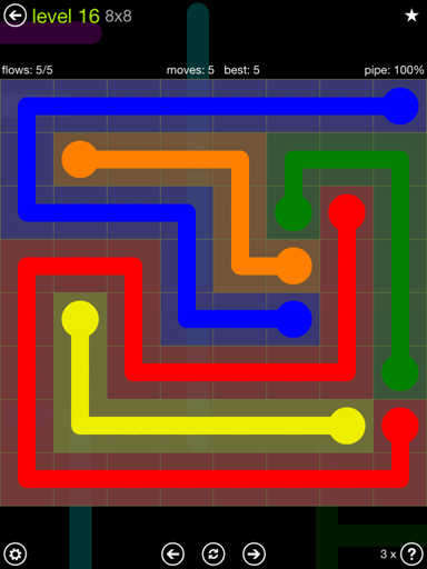 Solution and Answer to the Puzzle for Flow Extreme Pack Set 8x8 Level 16