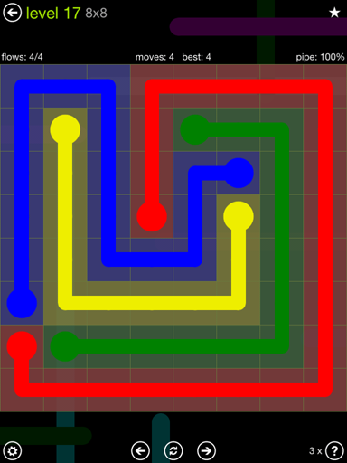 Solution and Answer to the Puzzle for Flow Extreme Pack Set 8x8 Level 17