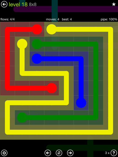 Solution and Answer to the Puzzle for Flow Extreme Pack Set 8x8 Level 18