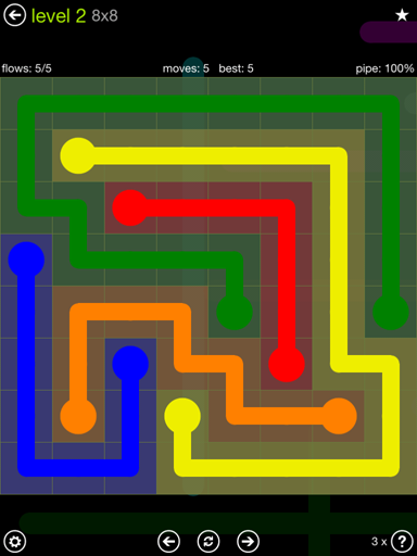 Solution and Answer to the Puzzle for Flow Extreme Pack Set 8x8 Level 2