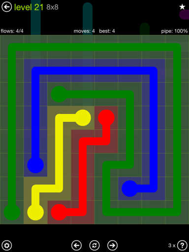 Solution and Answer to the Puzzle for Flow Extreme Pack Set 8x8 Level 21