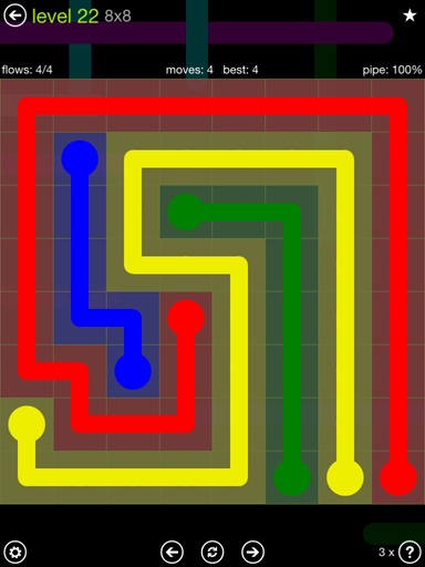 Solution and Answer to the Puzzle for Flow Extreme Pack Set 8x8 Level 22