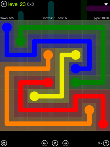 Solution and Answer to the Puzzle for Flow Extreme Pack Set 8x8 Level 23