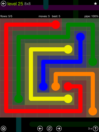 Solution and Answer to the Puzzle for Flow Extreme Pack Set 8x8 Level 25