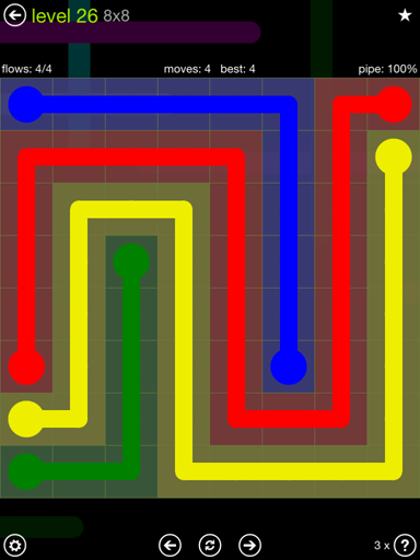 Solution and Answer to the Puzzle for Flow Extreme Pack Set 8x8 Level 26