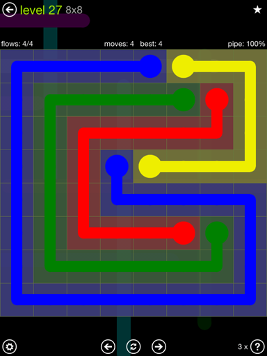Solution and Answer to the Puzzle for Flow Extreme Pack Set 8x8 Level 27