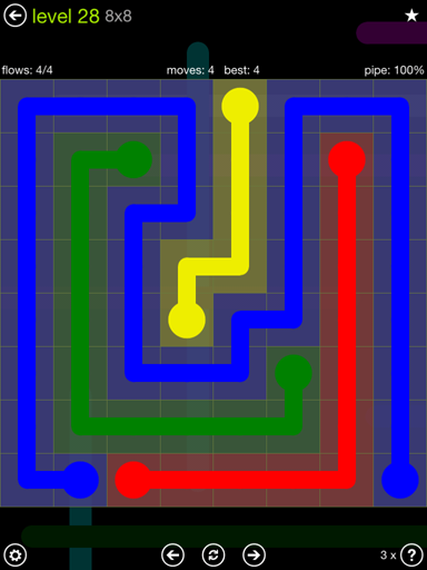 Solution and Answer to the Puzzle for Flow Extreme Pack Set 8x8 Level 28
