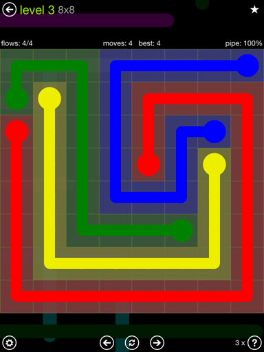 Solution and Answer to the Puzzle for Flow Extreme Pack Set 8x8 Level 3