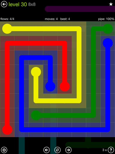 Solution and Answer to the Puzzle for Flow Extreme Pack Set 8x8 Level 30