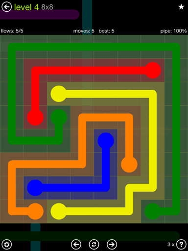 Solution and Answer to the Puzzle for Flow Extreme Pack Set 8x8 Level 4