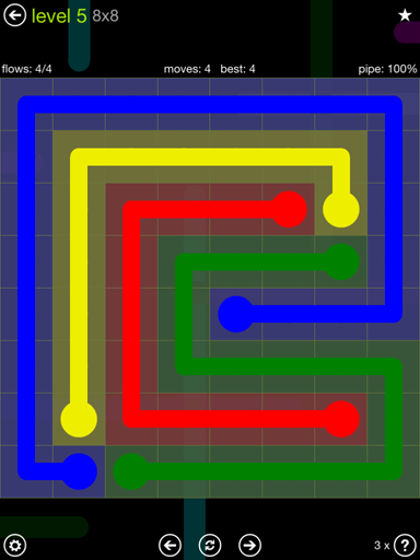 Solution and Answer to the Puzzle for Flow Extreme Pack Set 8x8 Level 5