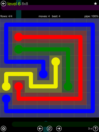 Solution and Answer to the Puzzle for Flow Extreme Pack Set 8x8 Level 6
