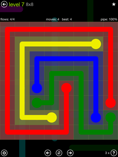 Solution and Answer to the Puzzle for Flow Extreme Pack Set 8x8 Level 7