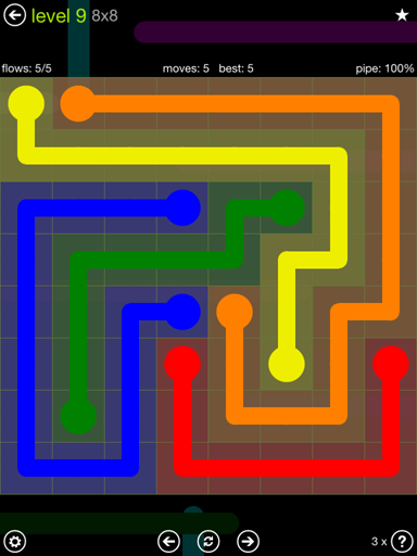 Solution and Answer to the Puzzle for Flow Extreme Pack Set 8x8 Level 9