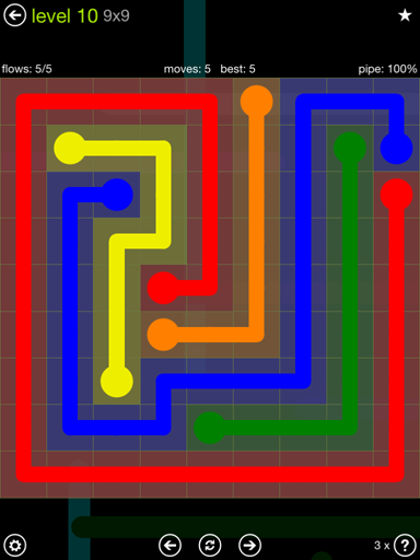 Solution and Answer to the Puzzle for Flow Extreme Pack Set 9x9 Level 10