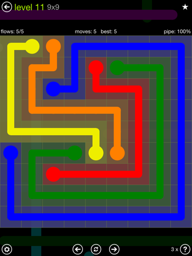Solution and Answer to the Puzzle for Flow Extreme Pack Set 9x9 Level 11