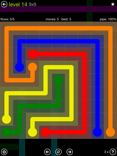 Solution and Answer to the Puzzle for Flow Extreme Pack Set 9x9 Level 14
