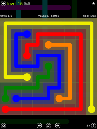 Solution and Answer to the Puzzle for Flow Extreme Pack Set 9x9 Level 15