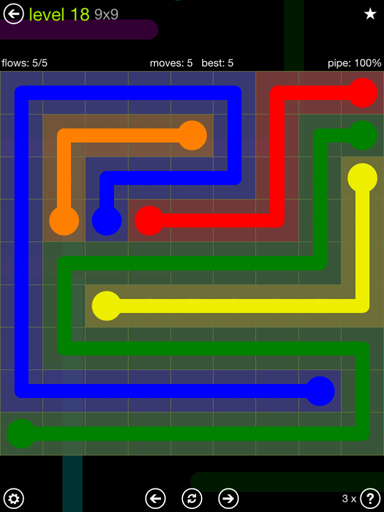 Solution and Answer to the Puzzle for Flow Extreme Pack Set 9x9 Level 18