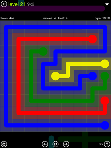 Solution and Answer to the Puzzle for Flow Extreme Pack Set 9x9 Level 21