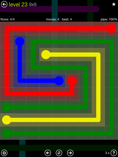 Solution and Answer to the Puzzle for Flow Extreme Pack Set 9x9 Level 23