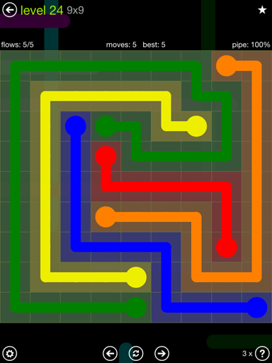 Solution and Answer to the Puzzle for Flow Extreme Pack Set 9x9 Level 24