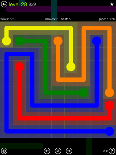 Solution and Answer to the Puzzle for Flow Extreme Pack Set 9x9 Level 28