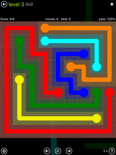 Solution and Answer to the Puzzle for Flow Extreme Pack Set 9x9 Level 3