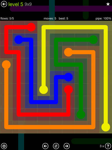 Solution and Answer to the Puzzle for Flow Extreme Pack Set 9x9 Level 5