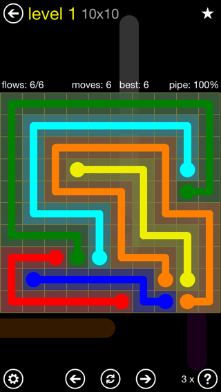 Solution and Answer to the Puzzle for Flow Extreme2 Pack Set 10x10 Level 1