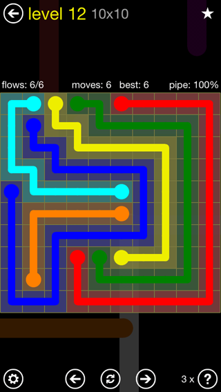 Solution and Answer to the Puzzle for Flow Extreme2 Pack Set 10x10 Level 12