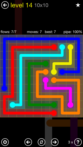 Solution and Answer to the Puzzle for Flow Extreme2 Pack Set 10x10 Level 14
