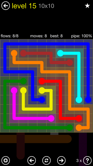 Solution and Answer to the Puzzle for Flow Extreme2 Pack Set 10x10 Level 15
