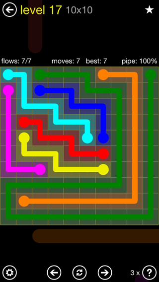 Solution and Answer to the Puzzle for Flow Extreme2 Pack Set 10x10 Level 17