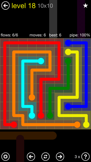 Solution and Answer to the Puzzle for Flow Extreme2 Pack Set 10x10 Level 18