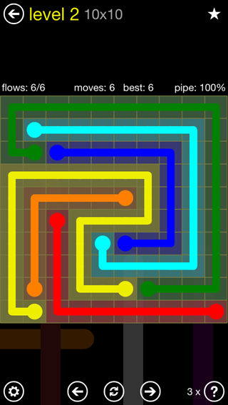 Solution and Answer to the Puzzle for Flow Extreme2 Pack Set 10x10 Level 2