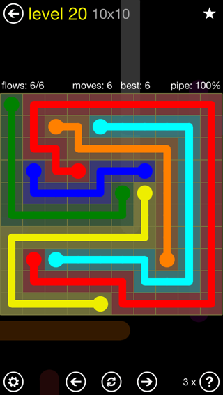 Solution and Answer to the Puzzle for Flow Extreme2 Pack Set 10x10 Level 20
