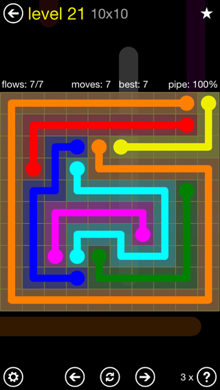 Solution and Answer to the Puzzle for Flow Extreme2 Pack Set 10x10 Level 21