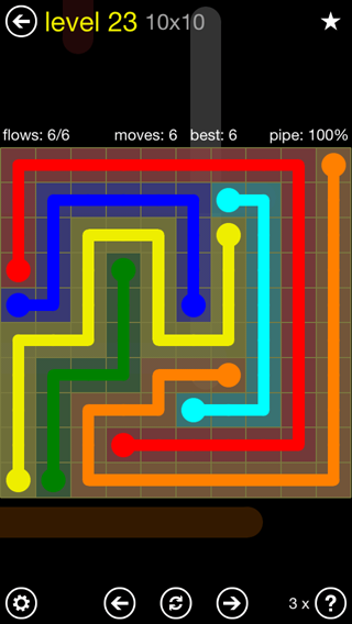Solution and Answer to the Puzzle for Flow Extreme2 Pack Set 10x10 Level 23