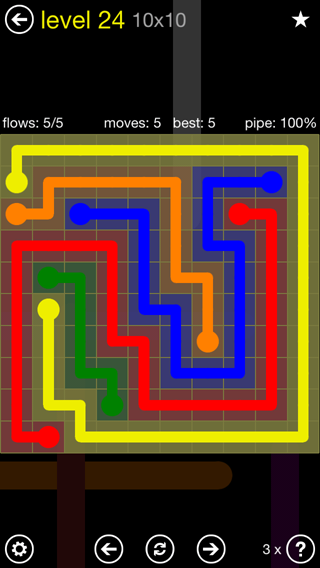 Solution and Answer to the Puzzle for Flow Extreme2 Pack Set 10x10 Level 24