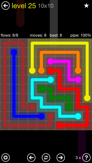 Solution and Answer to the Puzzle for Flow Extreme2 Pack Set 10x10 Level 25