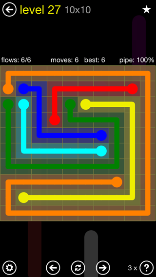 Solution and Answer to the Puzzle for Flow Extreme2 Pack Set 10x10 Level 27