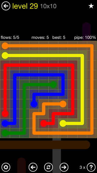 Solution and Answer to the Puzzle for Flow Extreme2 Pack Set 10x10 Level 29
