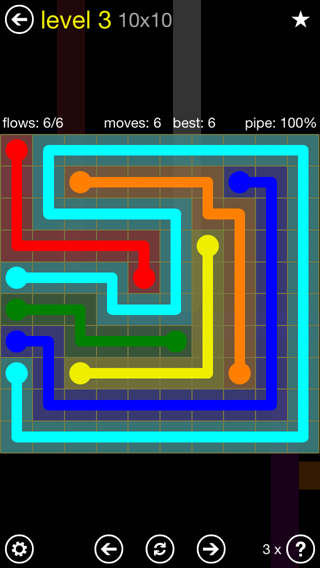 Solution and Answer to the Puzzle for Flow Extreme2 Pack Set 10x10 Level 3