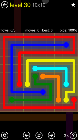 Solution and Answer to the Puzzle for Flow Extreme2 Pack Set 10x10 Level 30