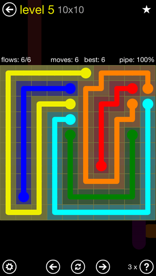 Solution and Answer to the Puzzle for Flow Extreme2 Pack Set 10x10 Level 5