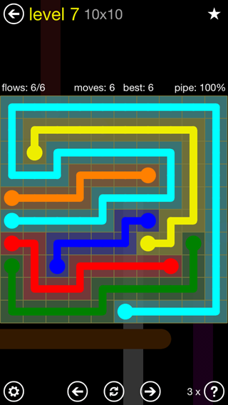 Solution and Answer to the Puzzle for Flow Extreme2 Pack Set 10x10 Level 7